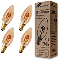 4x Bombilla de filamento LED greenandco® Vintage E14