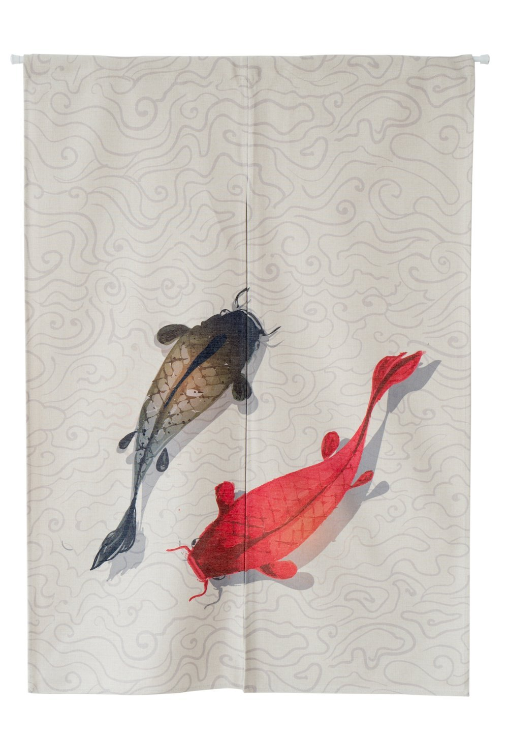 KARUILU home Japanese Noren Doorway Curtain / Tapestry 33.5'' Width x 47.2'' Long with Moonlight over the Lotus Pond (Koi)