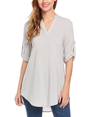 3d8739042 Zeagoo Women's V-Neck Loose Casual Blouse Solid Office Tunic Tank Top Shirts  2+