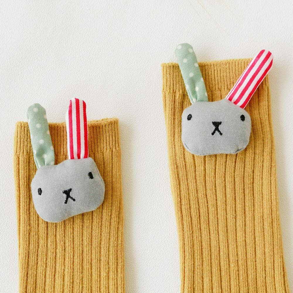 Vinjeely Toddler Baby Girls Socks Cute Rabbit Star Flower Anti-Slip Knee High Socks 1-3T