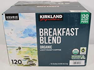 Kirkland Signature Organic Breakfast Blend Light-Roast Coffee, 120 K-Cup Pods