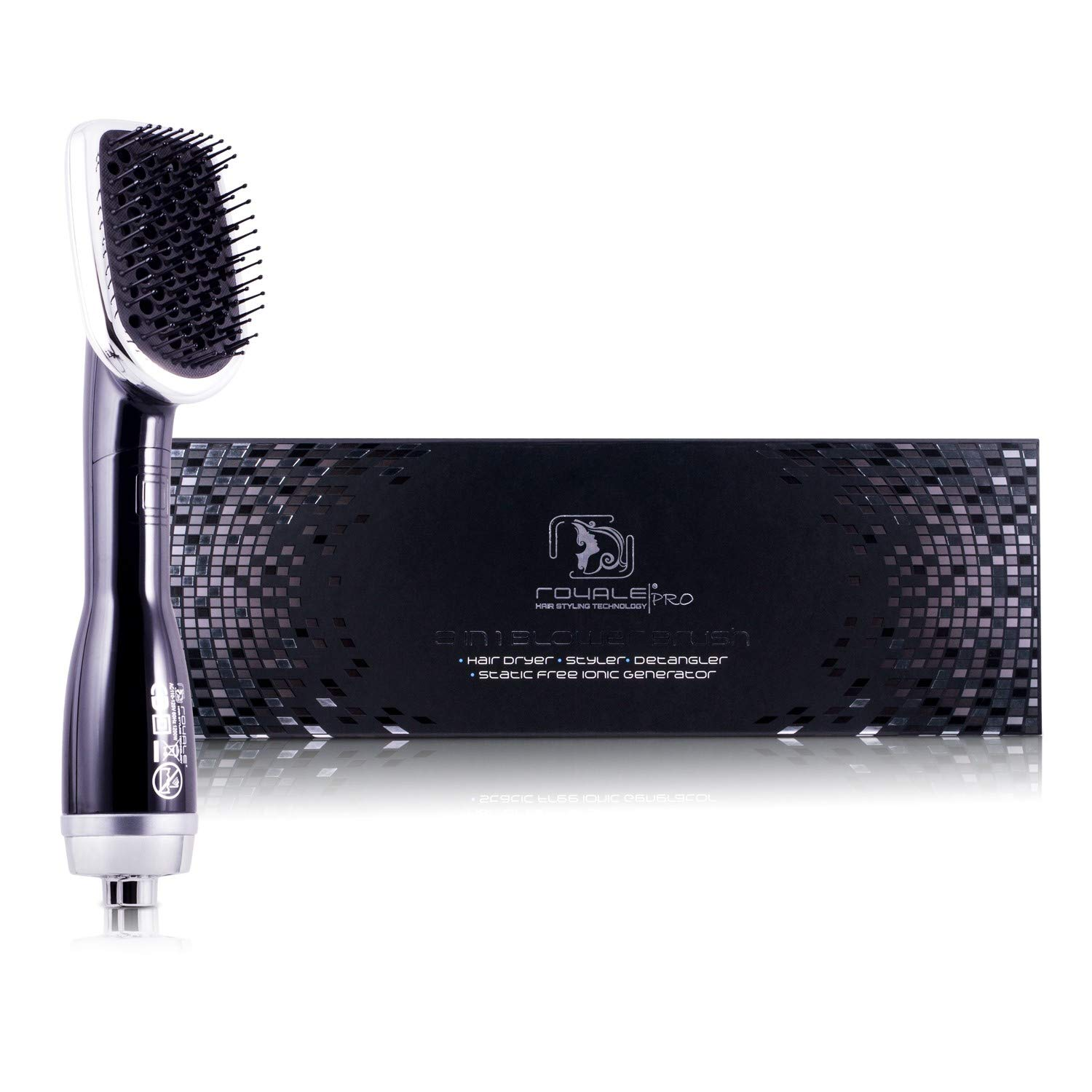 Professional Hairstyling Royale 3 in one Blower Brush 2000 Set - Interchangeable Attachments - Volumizes, Straightens and Curls - Tourmaline Technology - Black
