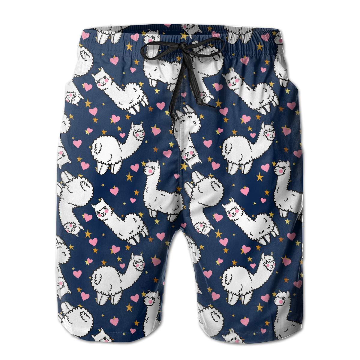 UHT28DG Cute Llama Mens Beach Board Shorts Fashion Swimming Shorts