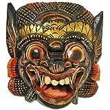 木彫りのお面マスク『バロン』壁掛け Sサイズ 縦約20cmx横20cm アジアン雑貨 並行輸入品【ノーブランド品】 [並行輸入品]