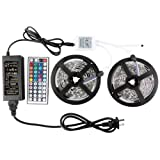 WenTop Led Light Strip DC12V UL Listed Power Supply SMD 5050 32.8 Ft (10M) 300leds RGB 30leds/m with 44 key Ir Controller Kitchen Bedroom and Sitting Room