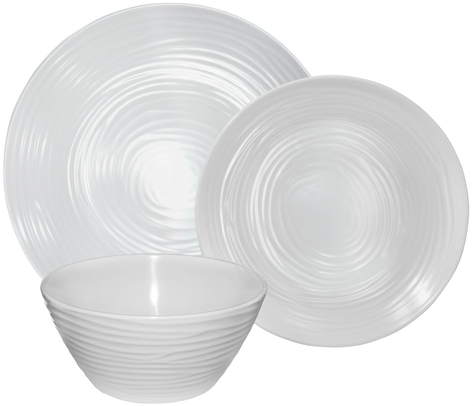 Parhoma White Melamine Home Dinnerware Set, 12-Piece Service for 4 by Parhoma (Image #7)
