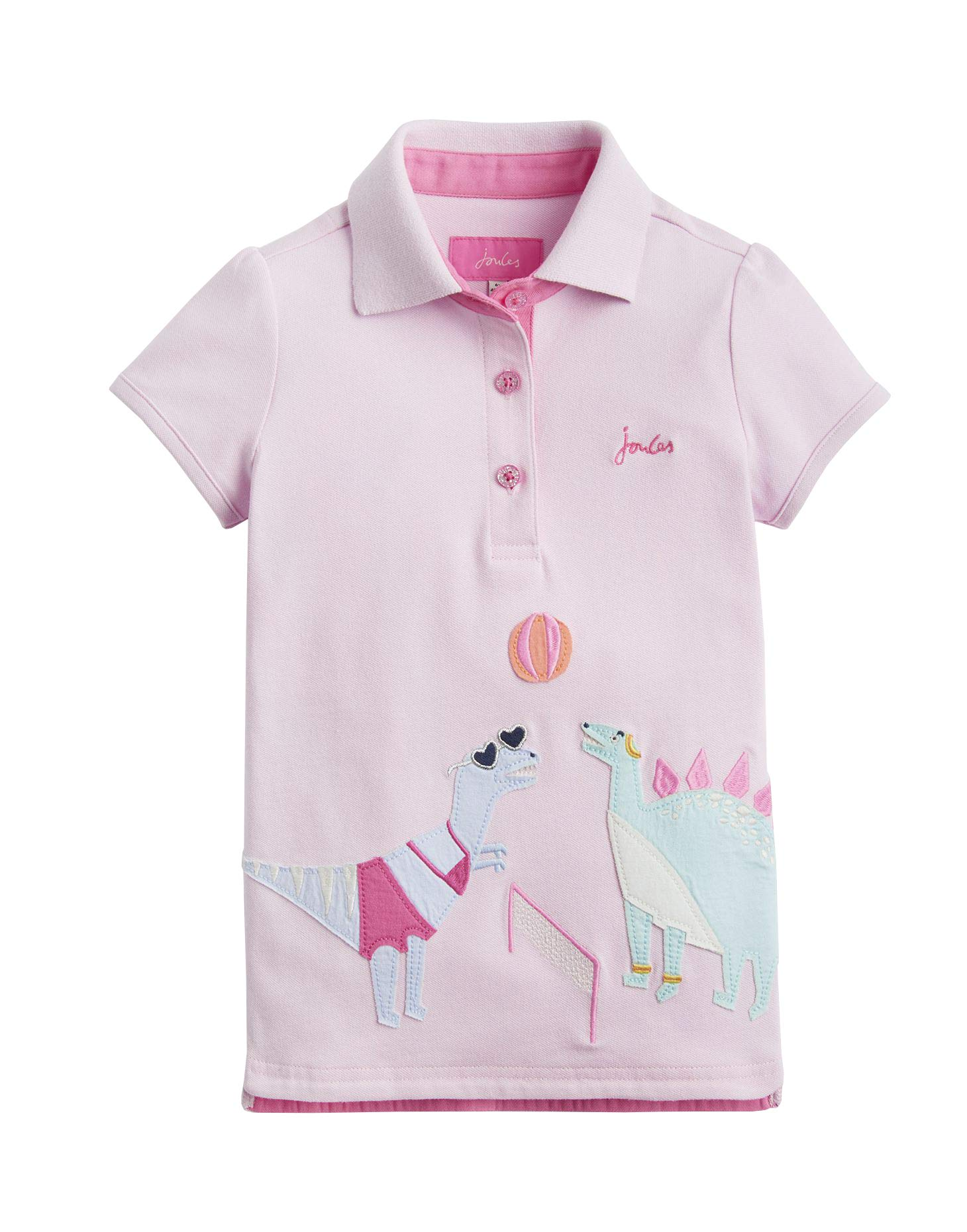 Joules Moxie Applique Polo Shirt - Pink Dino Sport - 7-8 Years - 122-128 cm by Joules