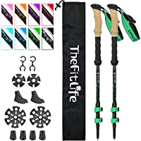 TheFitLife Carbon Fiber Trekking Poles – Collapsible and Telescopic Walking Sticks with Natural Cork Handle and Extended…