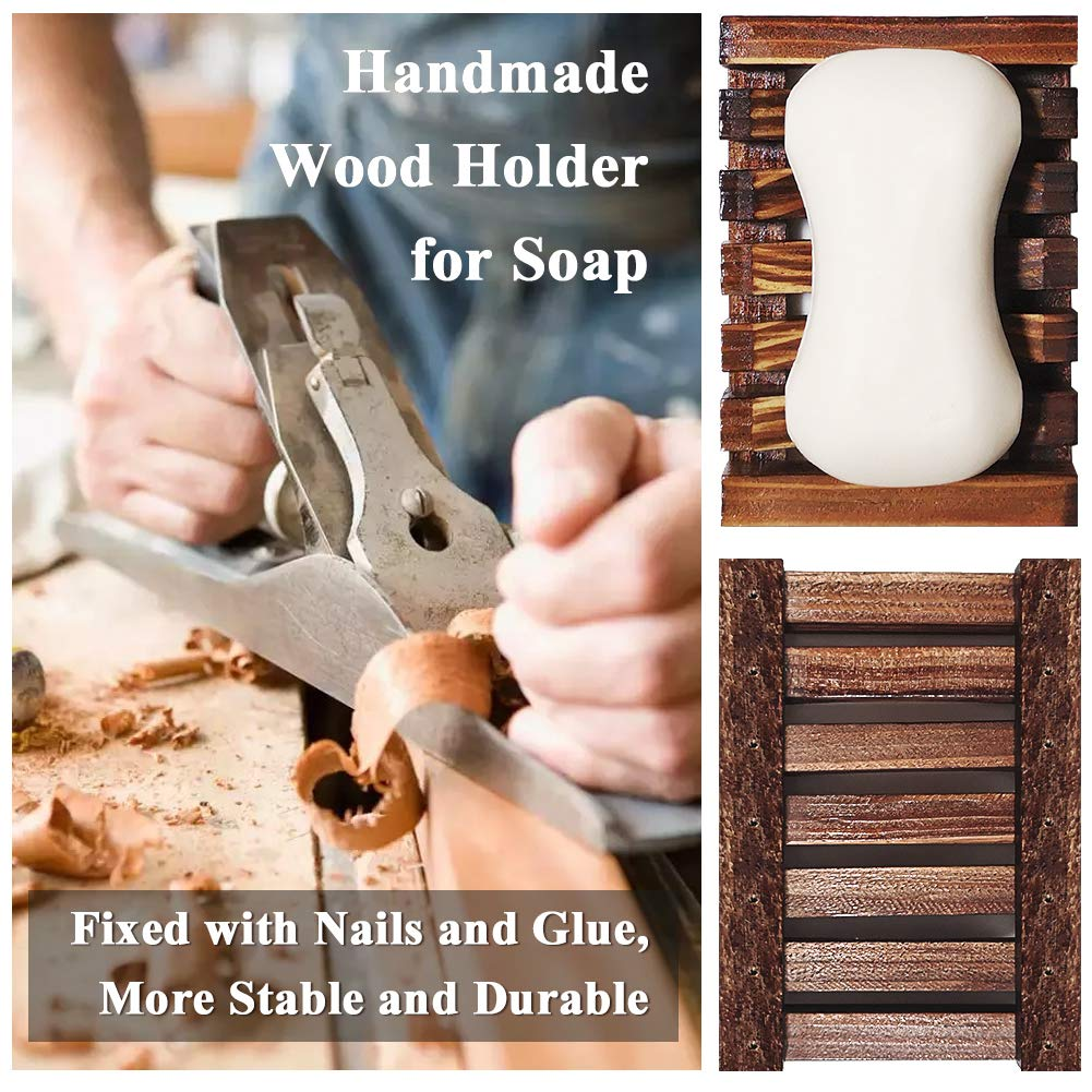5 Pack Chefic 2PCS Soap Dishes /& 3PCS Soap Bags Natural Handmade Wooden Soap Holders for Bathroom Kitchen Accessories Plastic Free Sisal Exfoliating Soap Bag Soap Saver Pouch for Face Body Shower