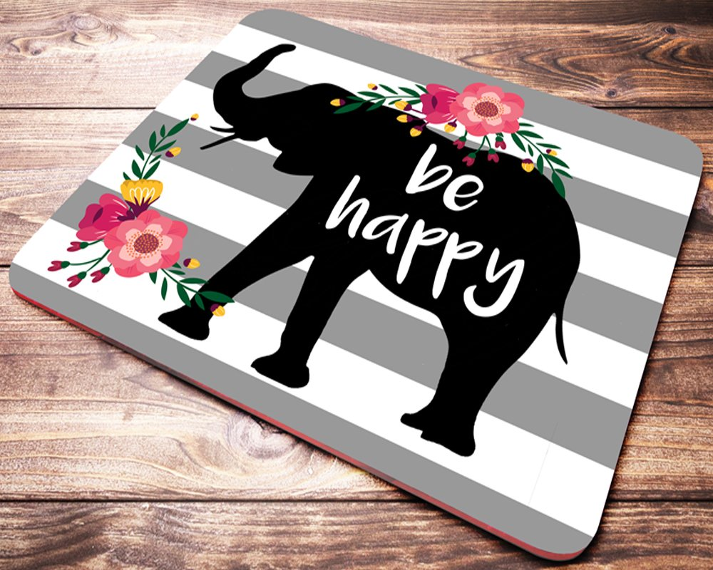 Be Happy ELEPHANT Mouse Pad Inspirational Quote Striped Mousepad Cute Desk Accessories Office Gifts by Black Fly Co (Image #1)