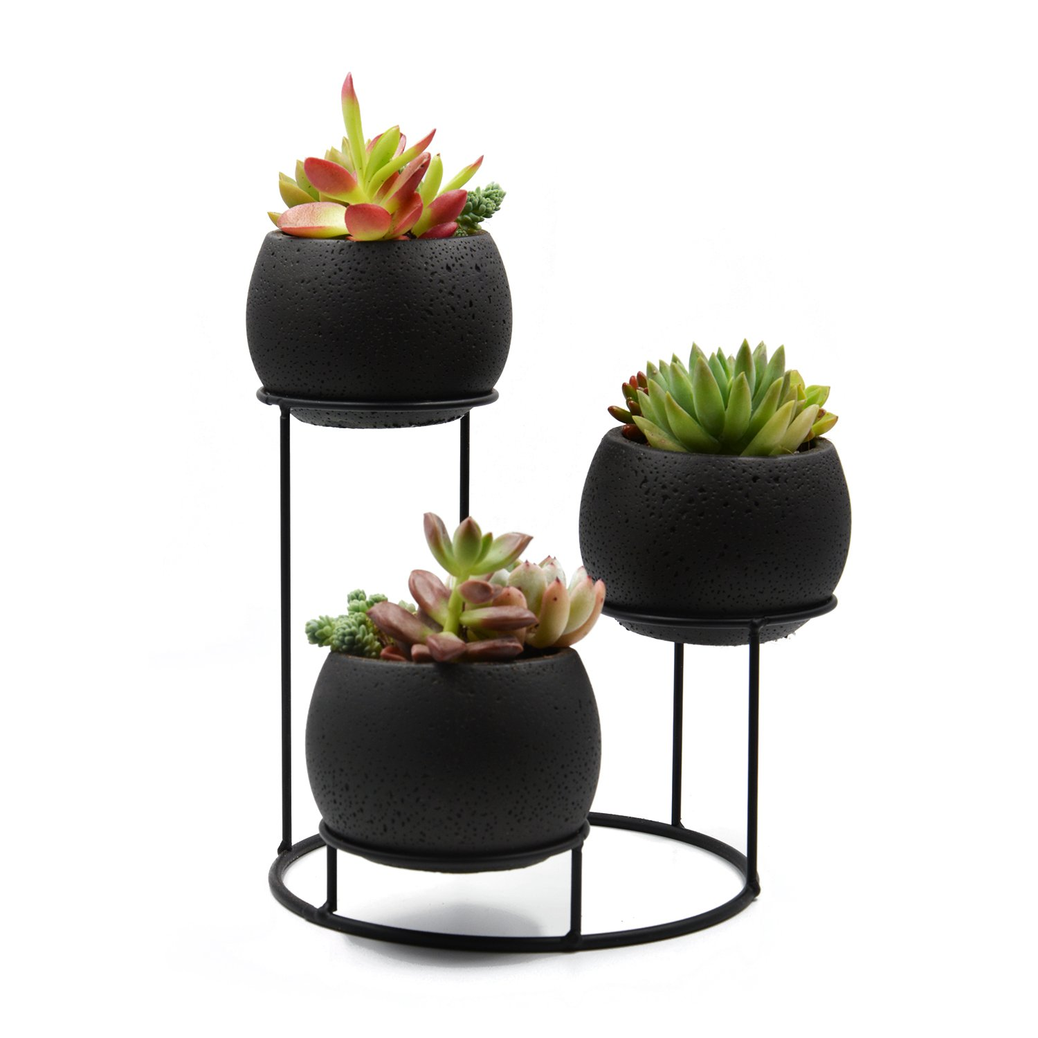 UDMG Small Succulent Cactus Cement Plant Pot, 3 Black Cement Planter with a Iron Stand Holder
