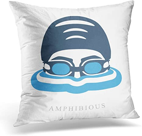 Amazon Com Emvency Throw Pillow Cover Blue Swim Premium Labels Swimmer S Head With Glasses And Cap For Swimming On The Water With Waves White Decorative Pillow Case Home Decor Square 18 X 18