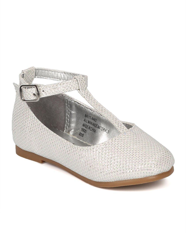 Glitter Round Toe Mary Jane T-Strap Ballerina Flat (Toddler/Little Girl/Big Girl) CE77 - Off White (Size: Little Kid 2)