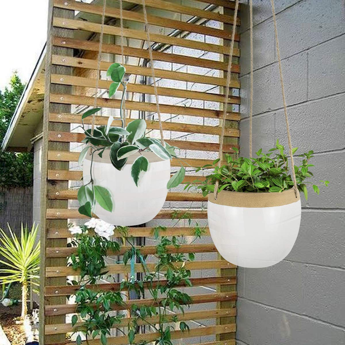 5.5 Inch White Indoor Hanging Pots Modern Plant Holder with Jute Rope for Succulents Cactus Herbs Small Plants Ceramic Hanging Planters Plant Pots Set of 2 Home Decor Gift