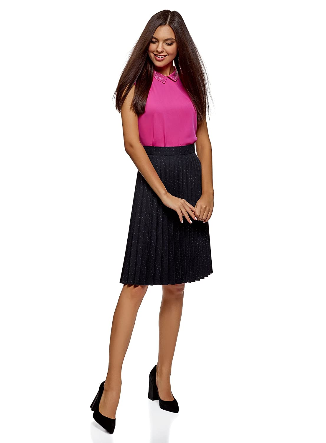 oodji Collection Womens Knee-Long Accordion Pleat Skirt