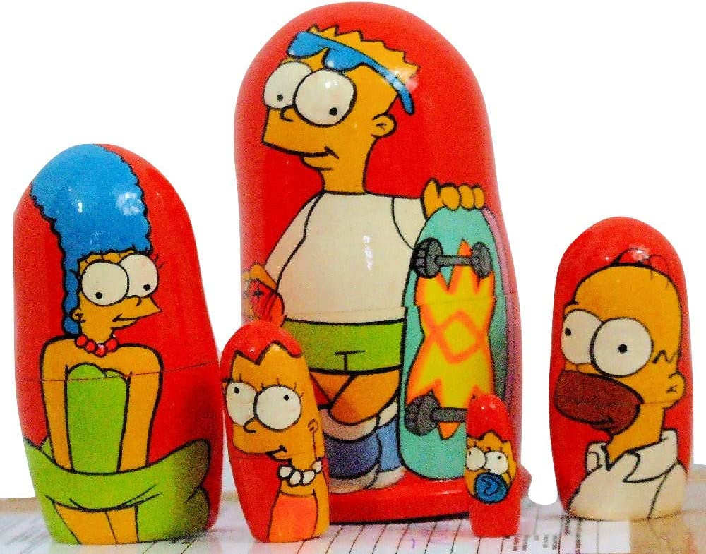 5pcs Hand Painted Russian Nesting Doll of The Simpsons Medium Style 2