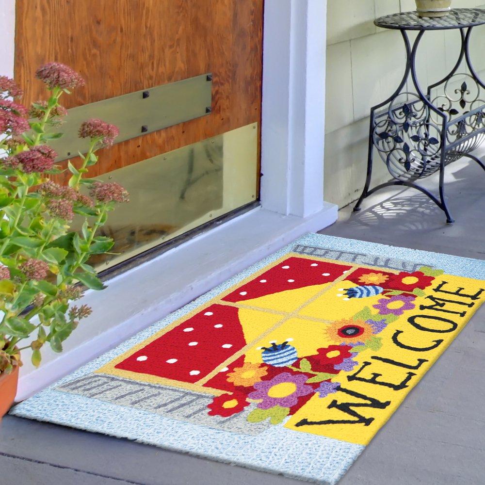Jellybean Welcome Window Box Garden Indoor/Outdoor Machine Washable 21'' x 33'' Accent Rug by Jellybean (Image #1)