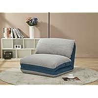 Meubletmoi Chauffeuse Fauteuil Convertible Couchage lit 1 Place Tissu Doux Gris Bleu - 3 Positions - Ultra Confortable - Zen