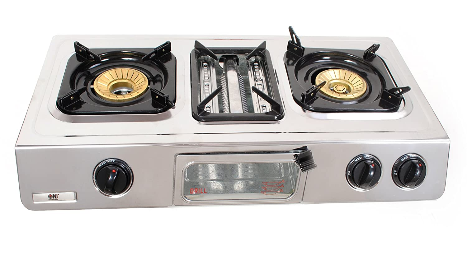NJ GC-87 Gas Stove 2 Burner with Grill and Oven Stainless Steel 70cm ...