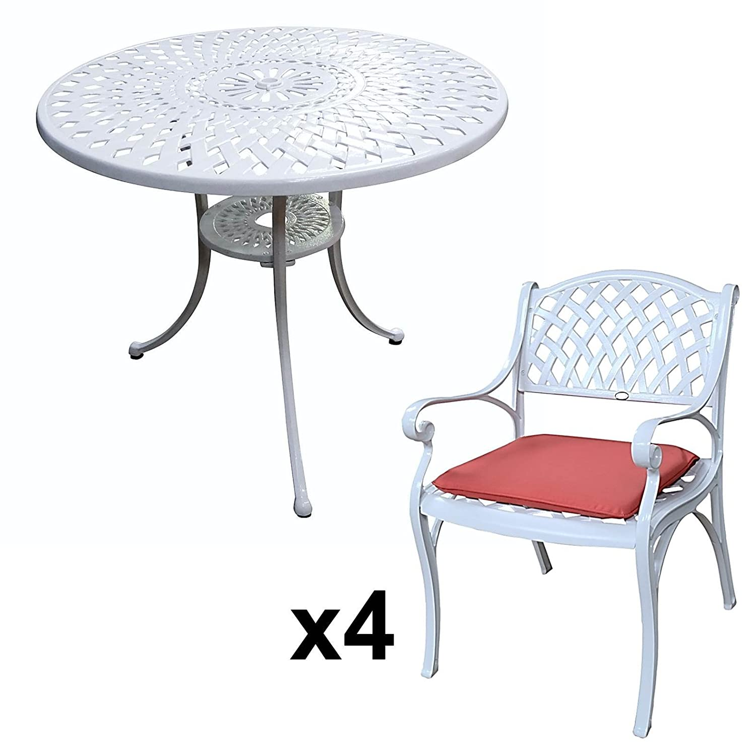 lazy susan mia 90 cm runder gartentisch mit 4 st hlen gartenm bel set aus metall wei kate. Black Bedroom Furniture Sets. Home Design Ideas