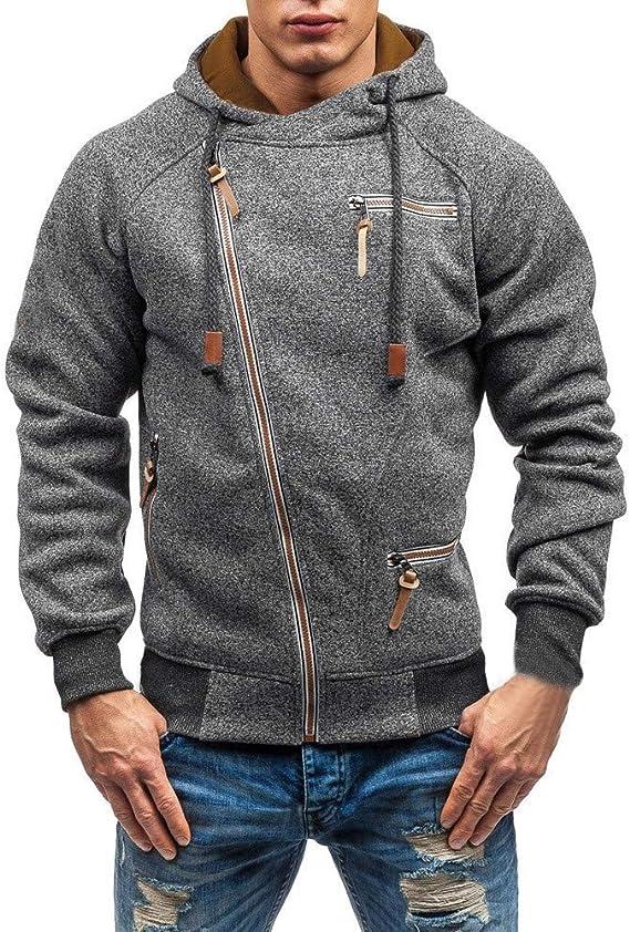 Herren Kapuzenjacke Jacke mit Reißverschluss,Hevoiok Mode Casual Herbst Winter Langarm Hoodie Männer Pullover Kühl Sweatshirt Kapuzenpullis Top mit