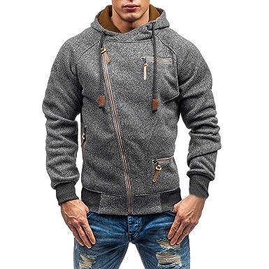 Herren Kapuzenjacke Jacke mit Reißverschluss,Hevoiok Mode Casual Herbst Winter  Langarm Hoodie Männer Pullover Kühl 43c2c569d6