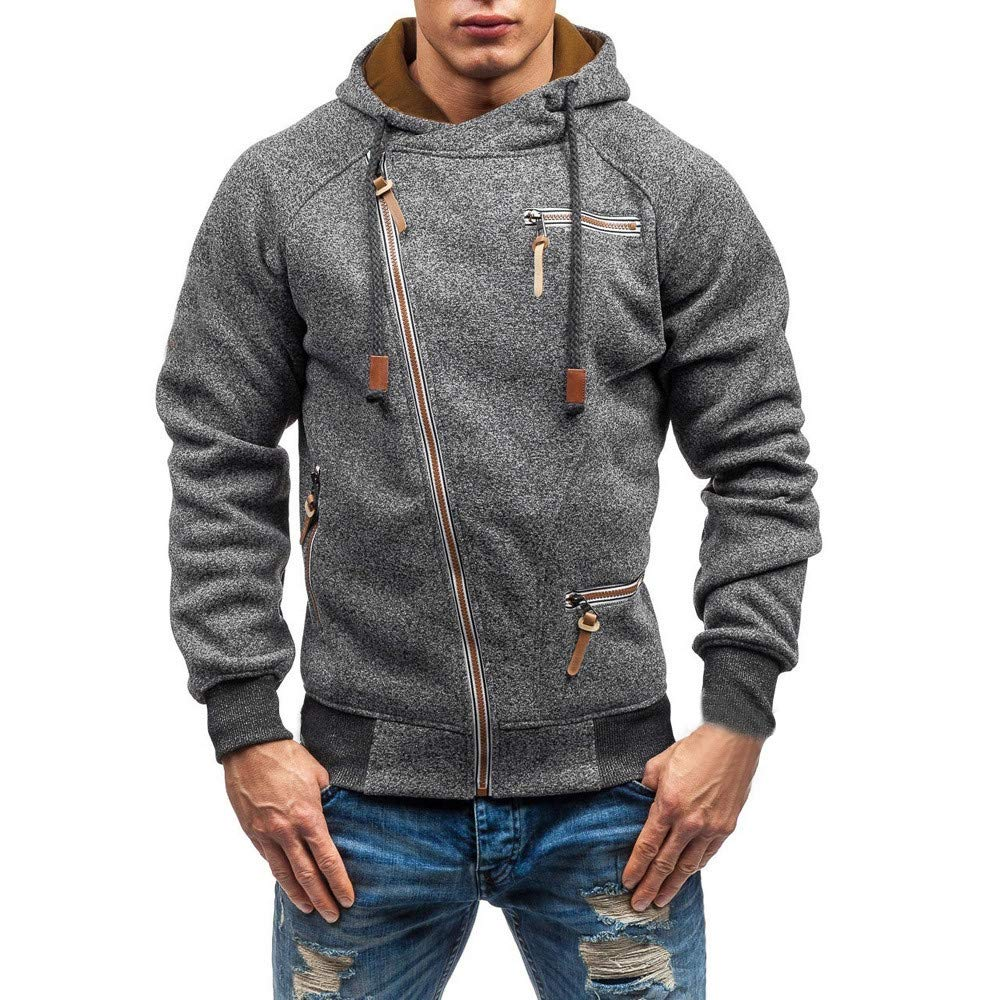 Hot Sale !Charberry Mens Casual Zipper Long Sleeve Top Autumn Hooded Sweatshirt Outwear Blouse (US-S/CN-M, Dark Gray) by Charberry