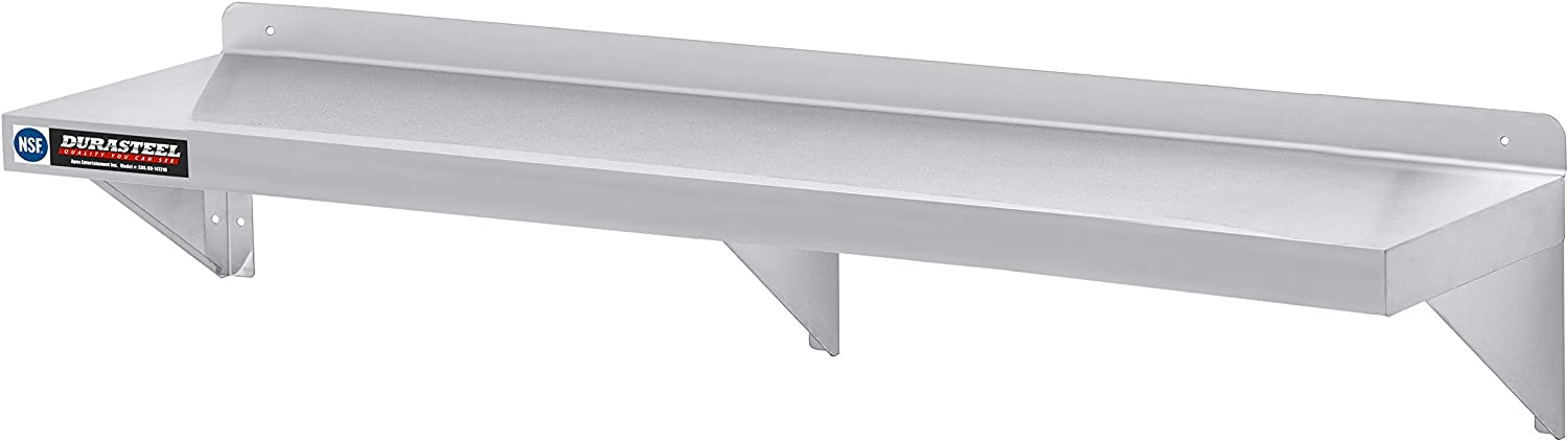 "DuraSteel Stainless Steel Wall Mount Shelf 72"" Wide x 14"" Deep Commercial Grade - NSF Certified - Good for Restaurant, Bar, Home, Kitchen, Laundry, Garage and Utility Room"