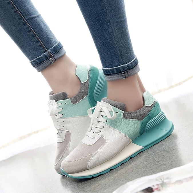 de la mujer de primavera/verano casual zapatillas/Los estudiantes coreanos respiran zapatillas de suela gruesa/ aumentados en los zapatos de Forrest ...