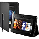 32nd Book wallet PU leather case cover for Amazon Kindle Fire HD 7 inch (2nd Generation) Black