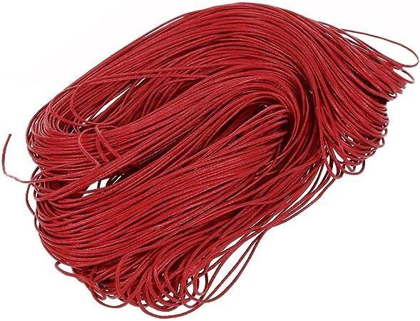 SODIAL(R)45 metros Cuerda de algodon encerado cordon - Rojo ...