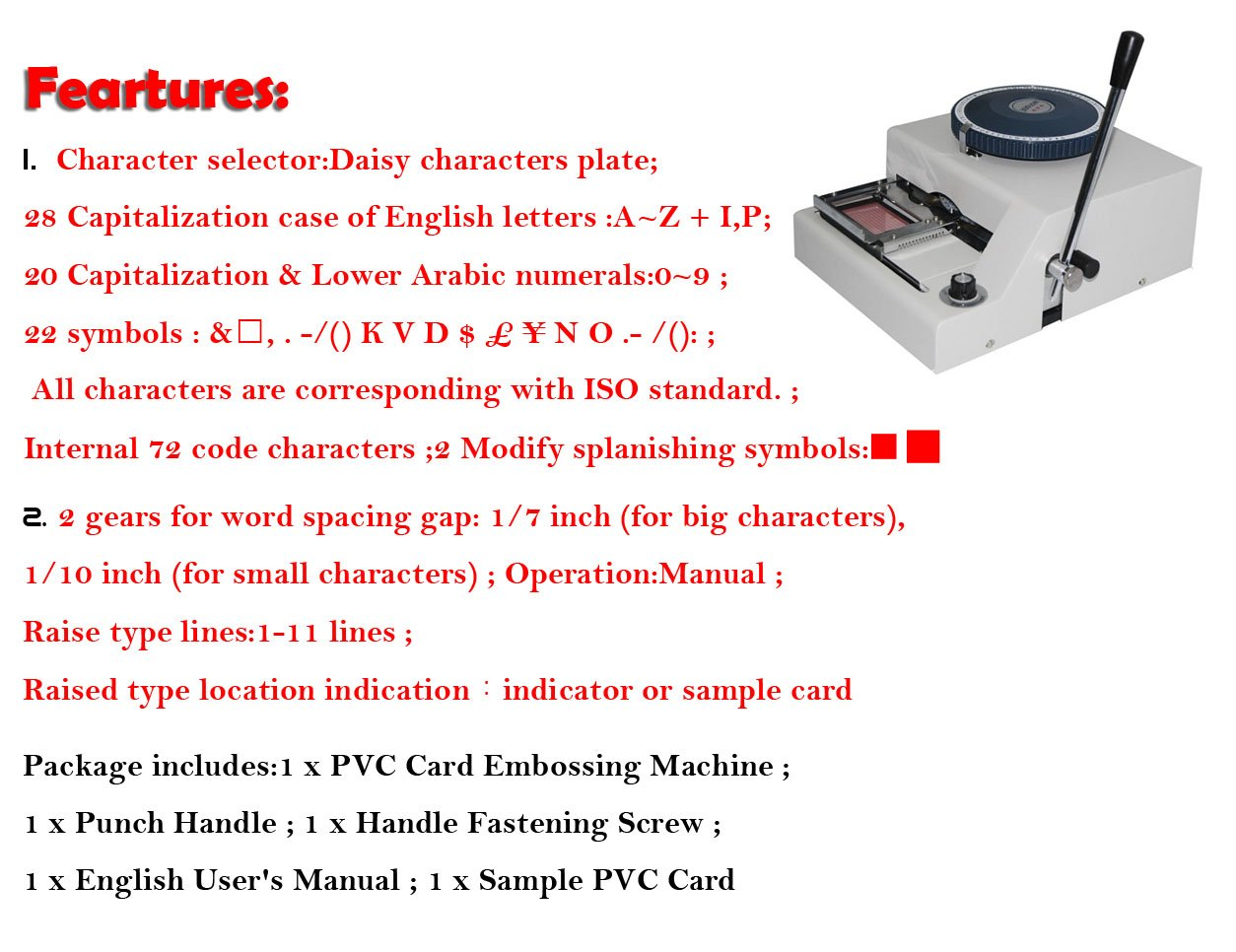 Eyourlife New PVC Credit Card Embossing Indenting Machine 72 Character Manual Printing by