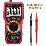 Tacklife DM01M Avanzado Multímetro Digital 6000 cuentas, 1000V detección de voltaje sin contacto, temperatura, línea de fuego, continuidad audible, resistencia tester con retroiluminación LCD