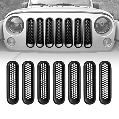 Allinoneparts (Upgrade Clip in Version) Matte Black Grill Inserts Grille Mesh Guard for Jeep Wrangler Rubicon Sahara Sport JK Accessories 2007-2015 (Pack of 7 Pcs Set, Without Hole Kit): Automotive