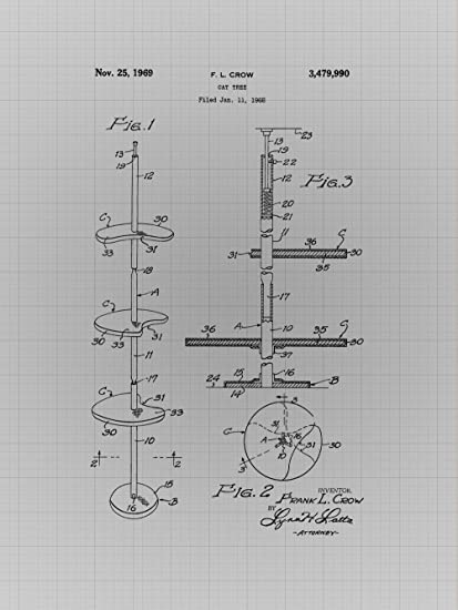 Amazon framable patent art the original ready to frame dcor framable patent art the original ready to frame dcor hello kitty cat tree vintage drawing 8in malvernweather Images