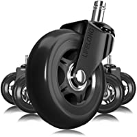 Office Chair Wheels Black Replacement Rubber Chair casters for Hardwood Floors and Carpet, Set of 5, Heavy Duty Office…