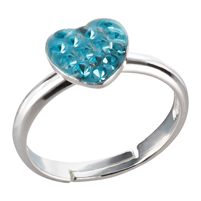 sl-silver fille–Bague Femme–Coeur–Cristal–Taille réglable Argent Sterling 925dans emballage cadeau SL-kinderring34
