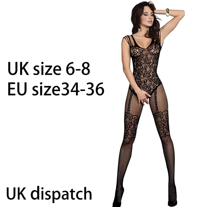 be321d697b7 SEXY BLACK FISHNET LACE CROTCHLESS SUSPENDER BODYSTOCKING LINGERIE BODYSUIT  1105