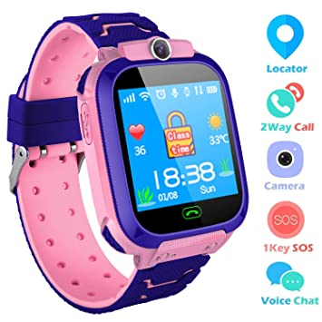 Smartwatch para niños - Rastreador de GPS Reloj de pulsera Reloj digital SOS Reloj con alarma Cámara con linterna Reloj para niños de 3 a 10 años ...