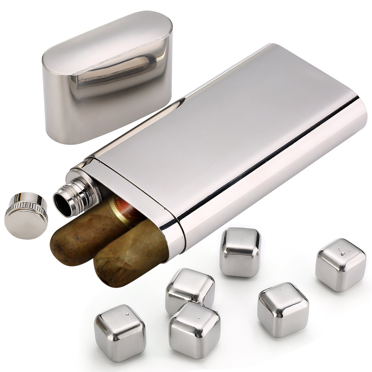Stainless Steel Chilling Rocks / Stones (8) + Dual Cigar Flask (1) [Gift Set] + Funnel (1) + Tongs (1) [FDA Approved] by YazyCraft (Image #4)
