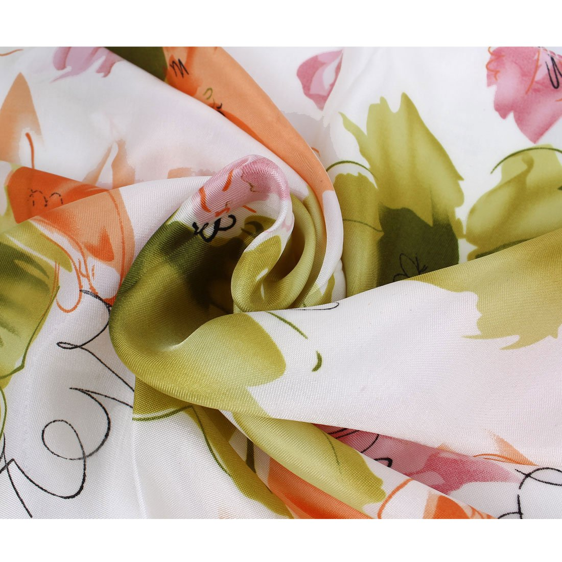 uxcell/® Pink Green Flower Butterfly Pattern Polyester Magic Scarf Wrap Neckerchief