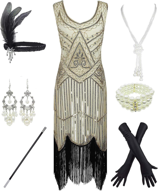 esrtyeryh Women Costume 1920s Gatsby Vestido de Cachemira con Flecos de Lentejuelas y Accesorios de 20s