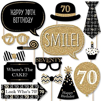 Adultos 70th cumpleaños - oro - Photo Booth props Kit - 20 ...