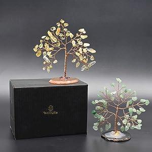 TantivyBo Handmade Crystal Tree Set, Citrine & Green Aventurine Mini Crystal Tree, Geode Agate Slices Base, Healing Crystal Tree Decor, Feng Shui Bonsai Crystal Tree for Wealth Luck 3.54