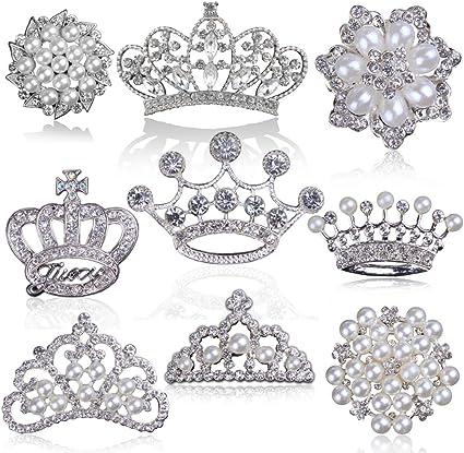 Perla Y Diamantes De Imitación Decoración Adorno De boda de botón flatback 10 un