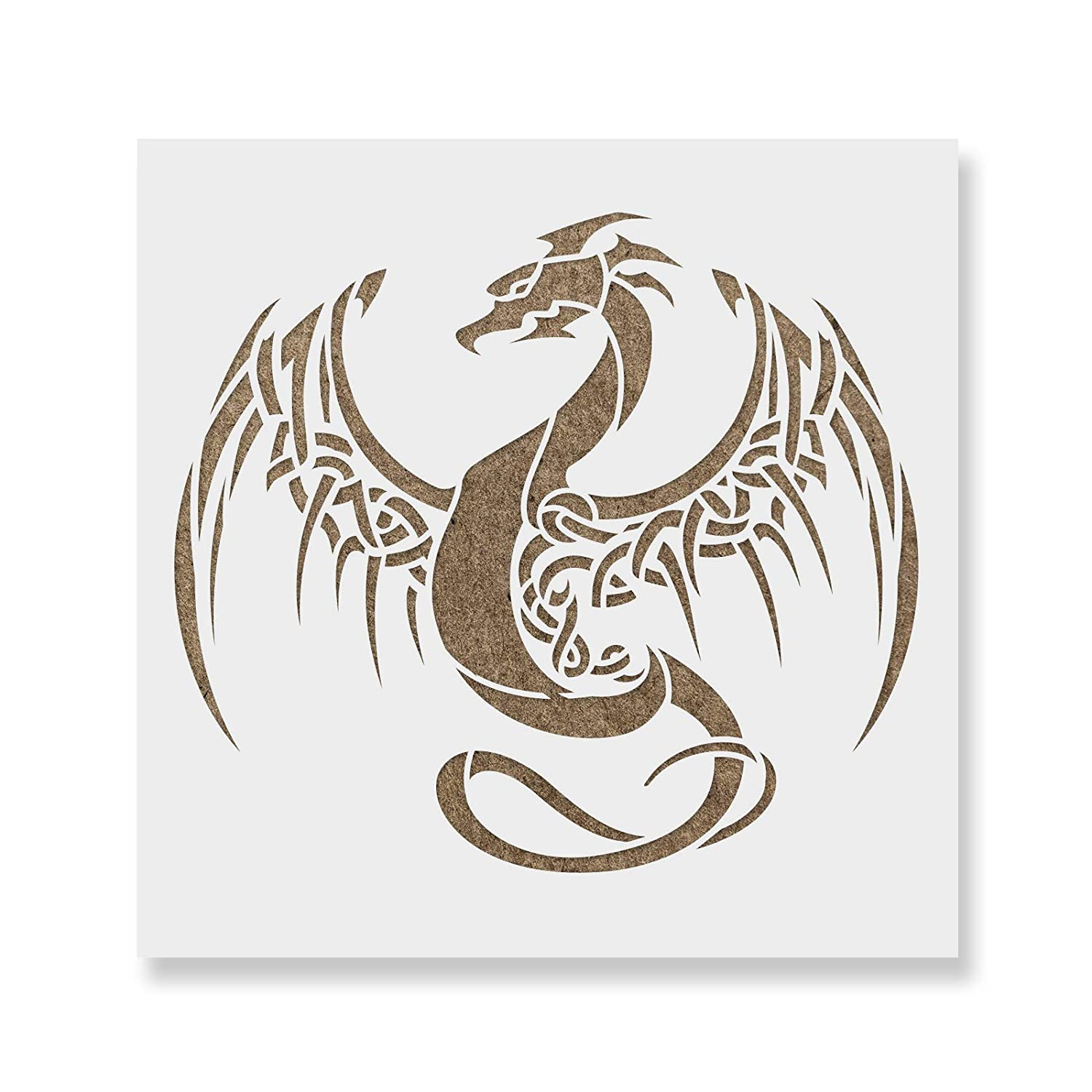 photograph relating to Dragon Stencils Printable known as Dragon Stencil Template - Reusable Stencil with Many