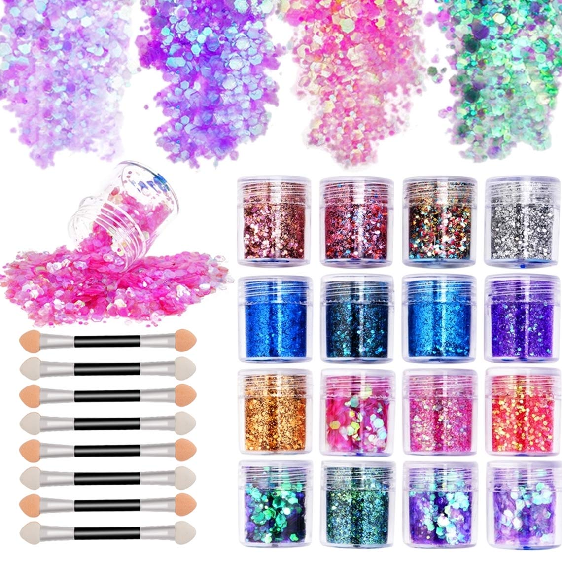 16 Boxes Chunky Glitter Sequins Kit Holographic Ultra-thin Iridescent Sequins with 8 Pcs Eye Shadow Brush for Body Face Hair Makeup Nail Art Festival Cosmetic (Sequins Kit 2) by Umillars