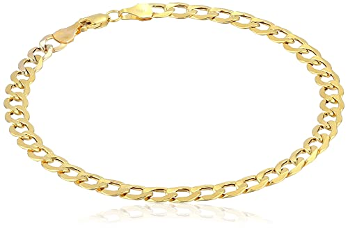 0b810fc4f7e84 Amazon.com: Men's 10k Yellow Gold 5mm Curb Link Bracelet, 8