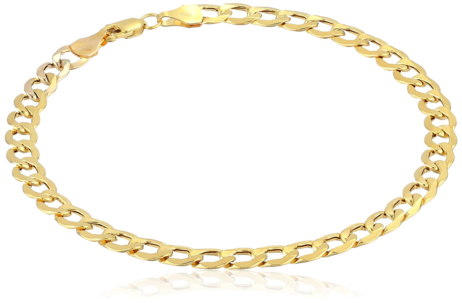 Men's 10k Yellow Gold 5mm Curb Link Bracelet, 8''