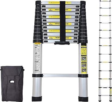 wolketon 3,8M Escalera telescópica de Aluminio Fuerte Estabilidad Escalera plegable Escalera alta multifuncional para loft 13 Escalones Antideslizantes Carga 150 KG: Amazon.es: Bricolaje y herramientas